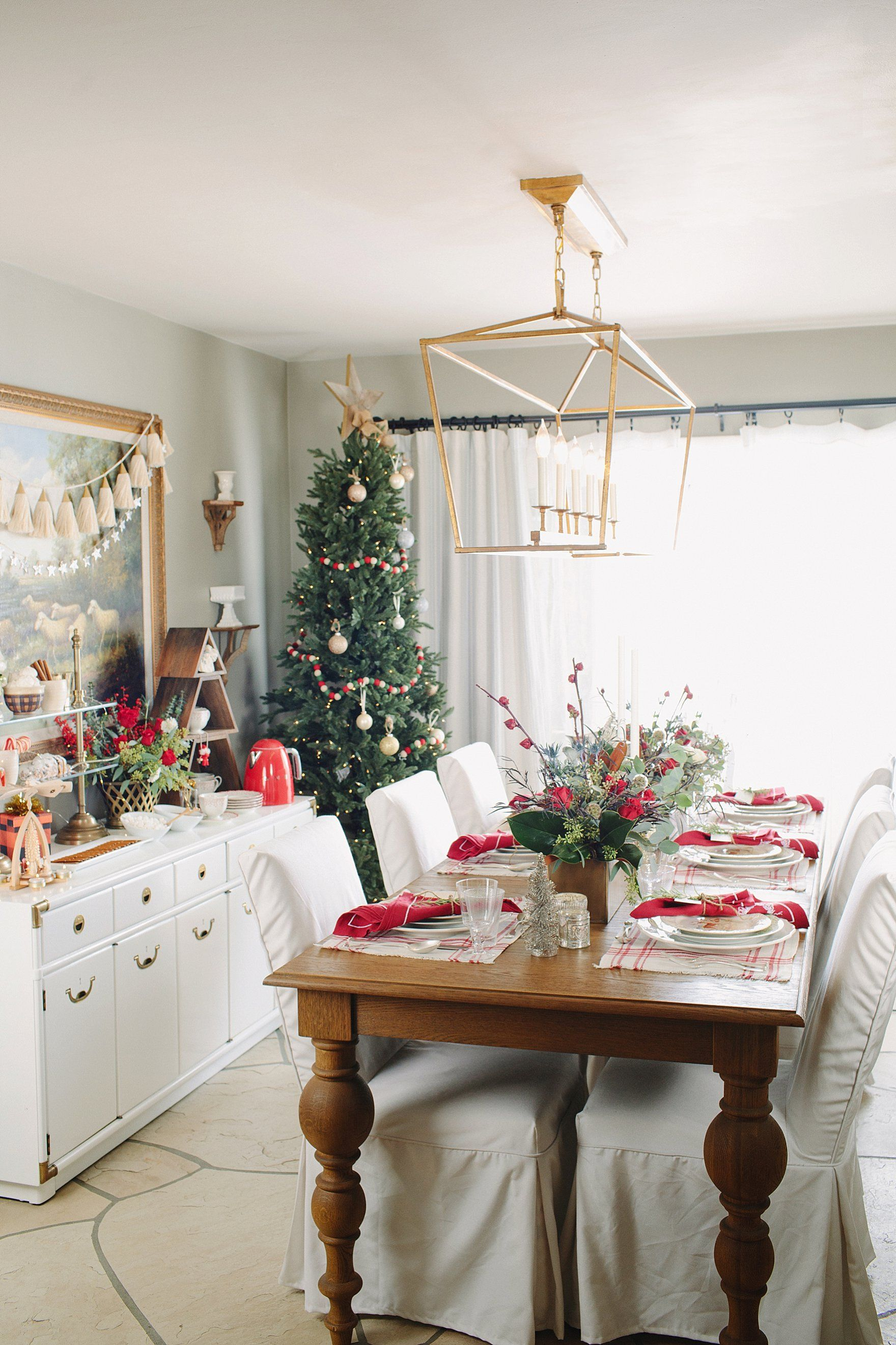 christmas holiday tables cape inspiration red green and white