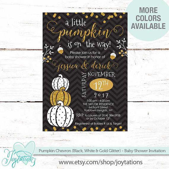 Pumpkin (white and gold glitter on a black chevron background) baby