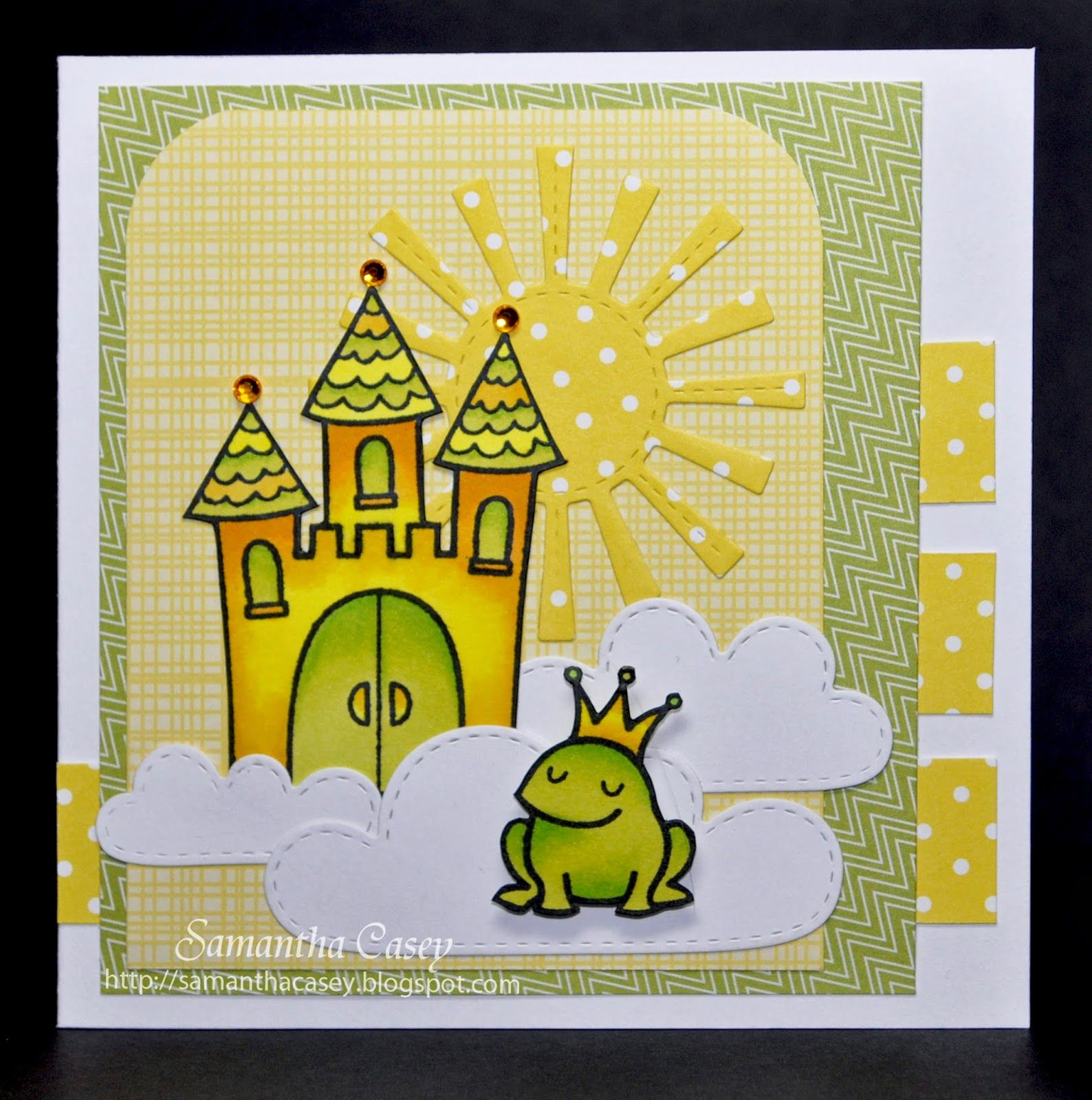 Lawnscaping March Blog Hop is part of lawn Fawn Pink Lemonade - Hey everyone, I am so excited for this Lawnscaping March blog hop! If you came from Tracy's blog you are in the right spot  Yellow and green is such a fun color combination, it reminds me of spring and sunshine  I love the  Critters Ever After  stamp set, and just had to use the frog and castle for my card  I created a colorful magical scene that combines both the  Critters Ever After  stamp set and the  Spring Showers  craft die set  The stitched clouds and sun are just adorable! The papers from the  Pink Lemonade  petite paper pack worked perfectly with my color theme  Lawn Fawn Supplies Critters Ever After Pink Lemonade Petite Paper Pack Spring Showers Spectrum Noir is the sponsor of our blog hop  Leave a comment on the Lawnscaping blog in addition to all of the designer's blogs  The winner will be chosen from the comments! Good luck! Blog Hop Order Lawnscaping Blog Samantha M  Tracy Samantha C  Sabine Lizzy Kari Lenny Thank you so much for stopping by, please hop on over to Sabine's blog! I hope you have a great day!