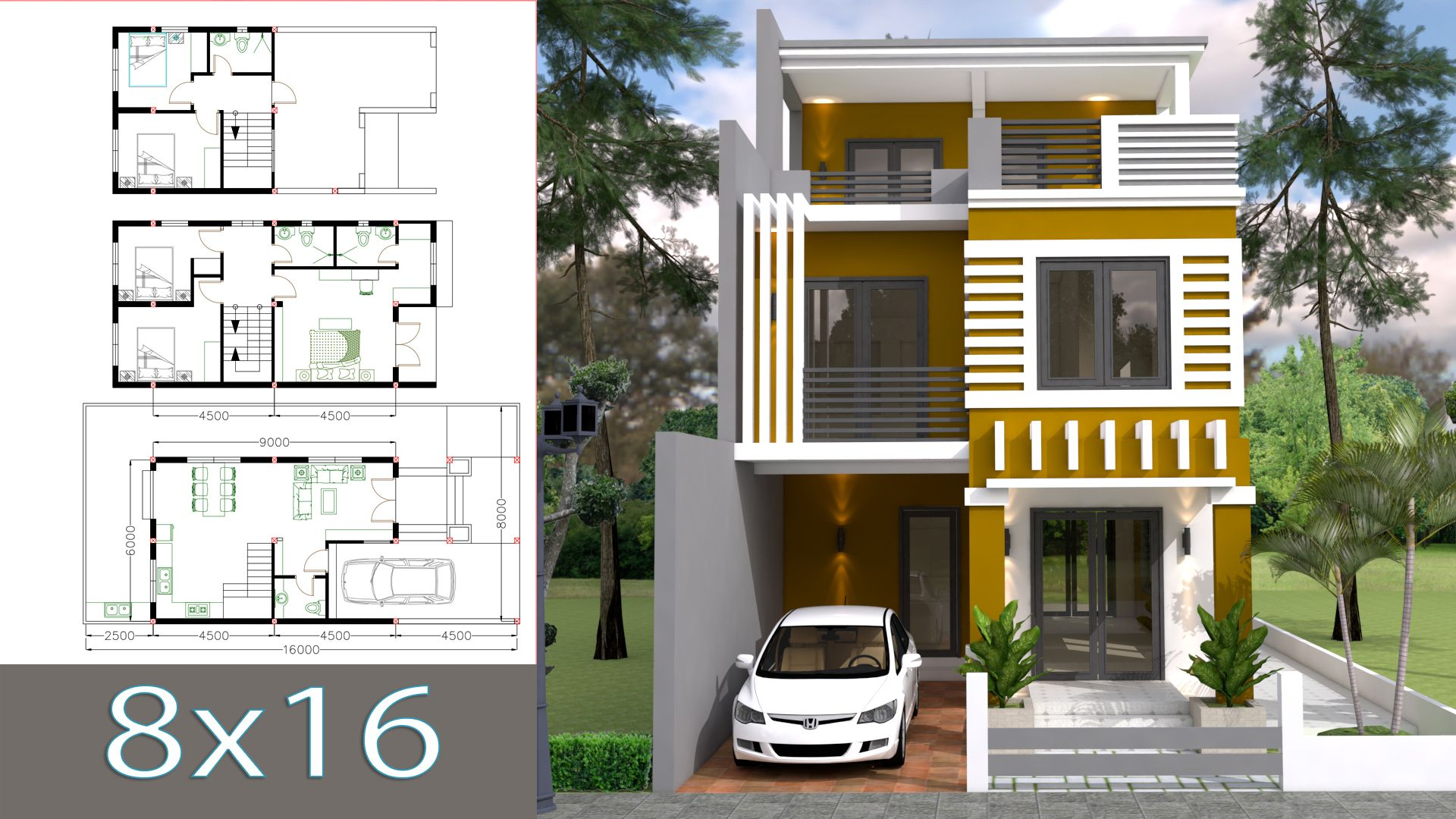 Home design plan 6x11m with 5 bedrooms plot 8x16m 2 stories villa