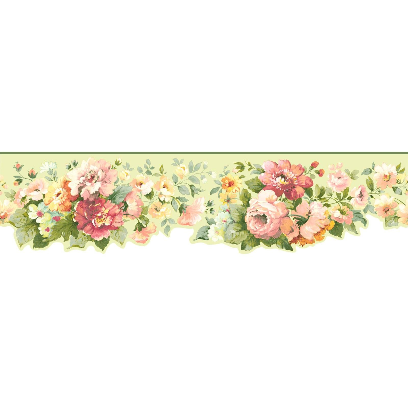 York Wallcoverings Border Document Floral Border in Mint