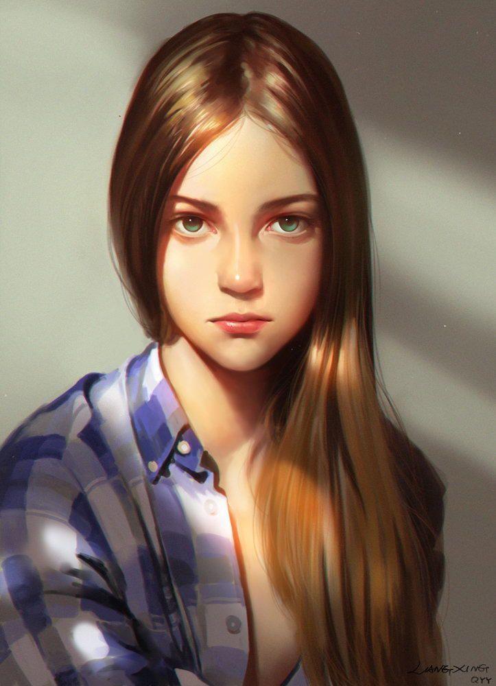 Girl - Cute Girl Digital Portrait   computer graphics   Pinterest ...