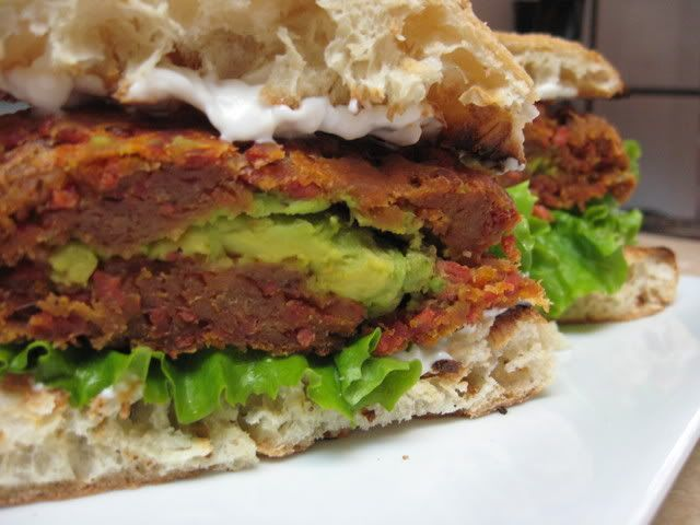 BLT and Avocado Seitan Burger with homemade vegan bacon bits... might have to make this for hubby.