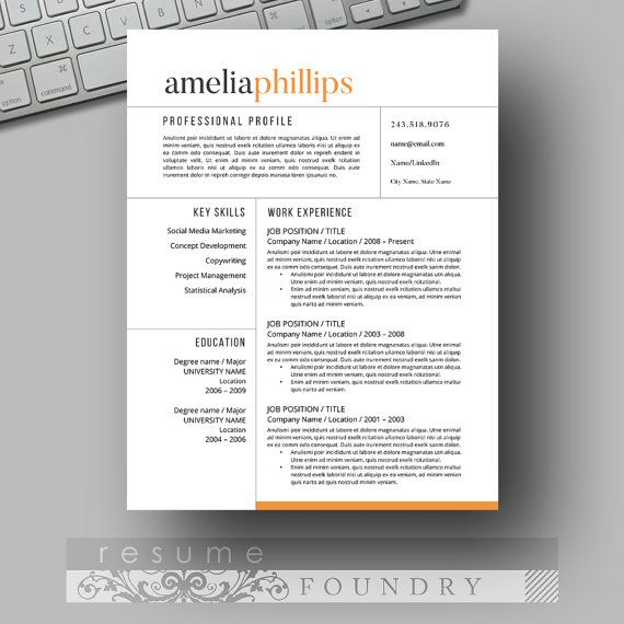 Contemporary Resume Templates Modern Resume Template  The Amelia  Cv Template Template And