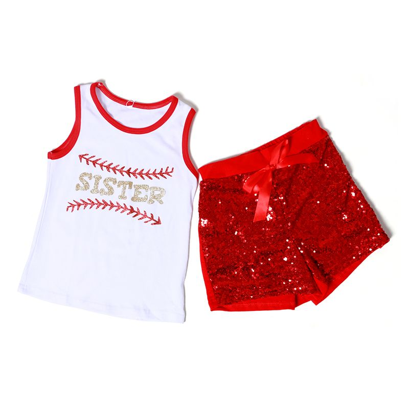 Baseball Girls Clothing Sets White Tank Top Red Baseball Shorts Suit