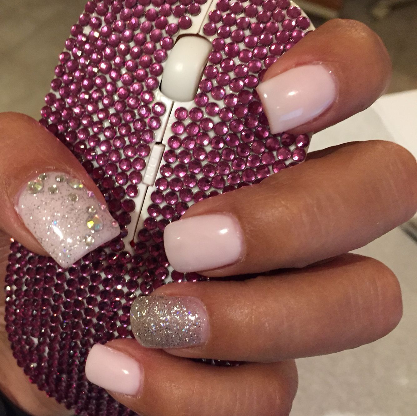 Pink and silver rock star nail design with just the right amount of ...