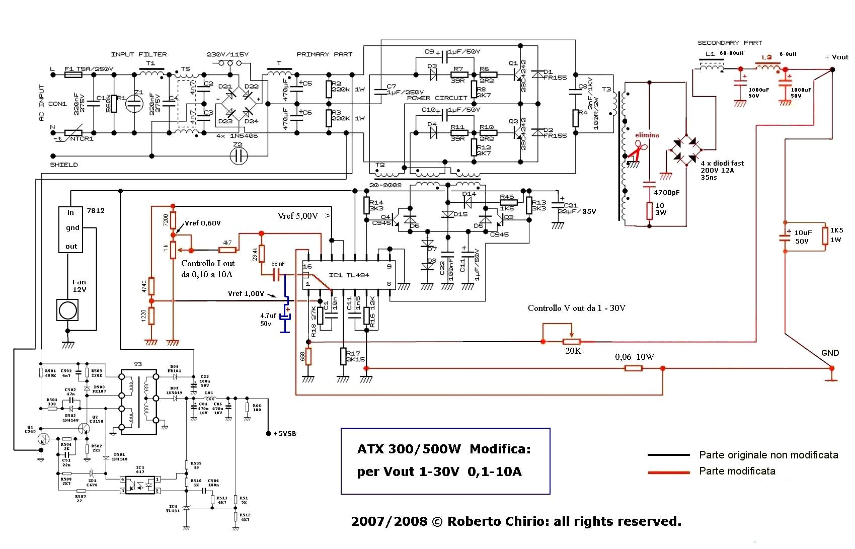 component atx power supply with adjustable voltage current modified rh pinterest com au atx smps power supply circuit diagram atx smps schematic diagram