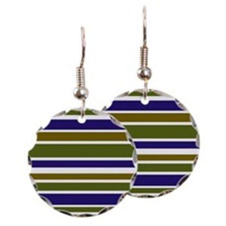 Round earrings with bold stripe pattern #cafepress #earrings #trends