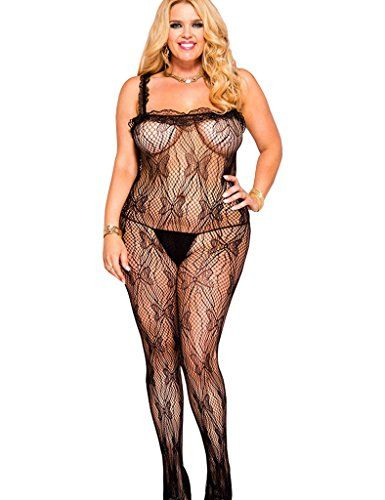 f204efe12fb Fashion Bug Plus Size  Exotic Plus Size Apparel  Women s Bodystocking  Strappy Transparent Mesh Plus Size Bodysuit Black Size US www.fashionbug.us   PlusSize ...