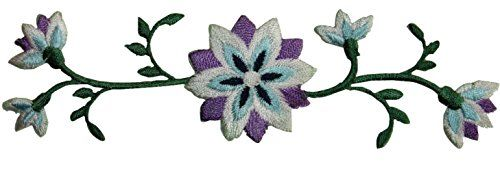 "[Single Count] Custom and Unique (4 1/4"" by 3"" Inches) Exotic Wild Growing Gardens Blooming Flowers on Vine Iron On Embroidered Applique Patch {Purple, Blue, White, and Green Colors} mySimple Products http://www.amazon.com/dp/B014TN0U6C/ref=cm_sw_r_pi_dp_.zcKwb1WEDADP"