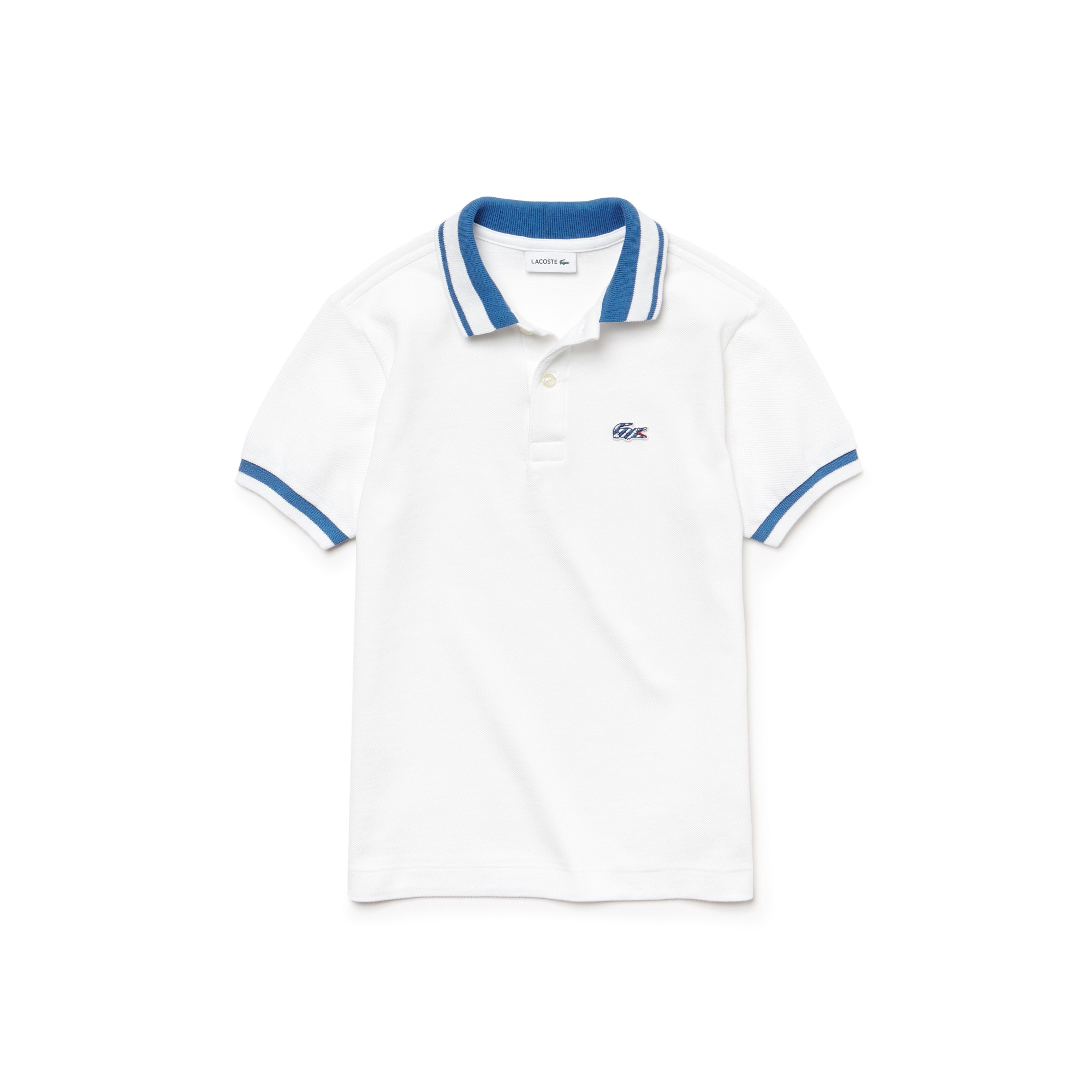 076b3406d Lacoste Boy's Candy Striped Cotton Polo Shirt - Elysee Blue/White 14 Years