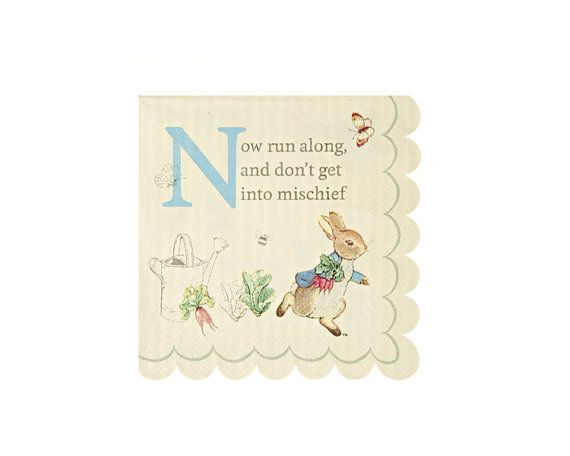 Featuring the ever mischievous Peter Rabbit, this charming party napkin uses Beatrix Potters classic words and is decorated with a pastel stripe and her immortal illustrations.  ★ Pack contains 20 paper napkins ★ Napkin size: (folded) 5 x 5 inches.  This listing is for ONE (1) pack of 20 small paper napkins from Meri Meris Peter Rabbit Collection.  ¸.✿´¸.•*´¨) ¸.•*¨) (¸.•´SHOP ★  Be sure to visit our other shop sections:  ✿ Baking & Cake Decorating ✿ Candy Making & Molds ✿ Ceramic Bisque…