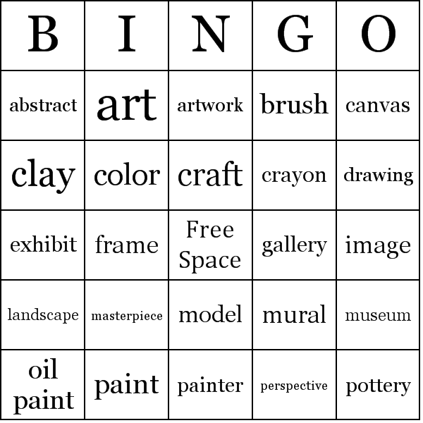 Make up art vocabulary bingo sheets, read the definitions, not the ...