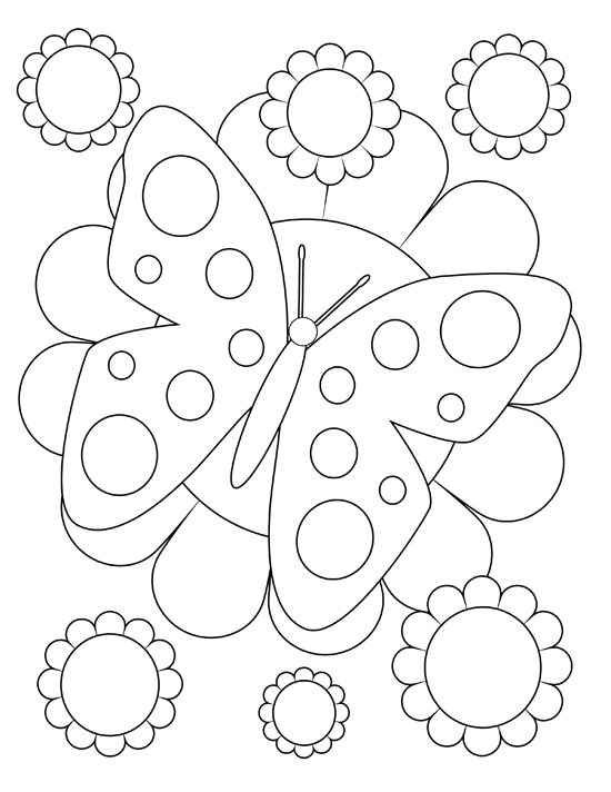 Spring Butterfly Coloring Sheet | Spring Clip Art ...