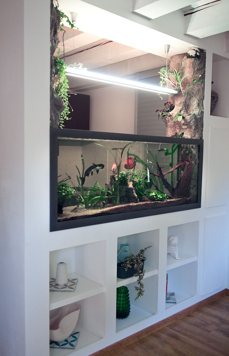 Aquarium Natürliches Thema Deko Schrank Eingebaut | Aquarium Ideas Room  Divider | Pinterest | Aquarium, Eingebaut Und Schränkchen