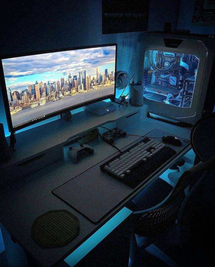thinking of creating this setup gaming setup in 2018 pinterest gaming schreibtisch schreibtisch und tisch