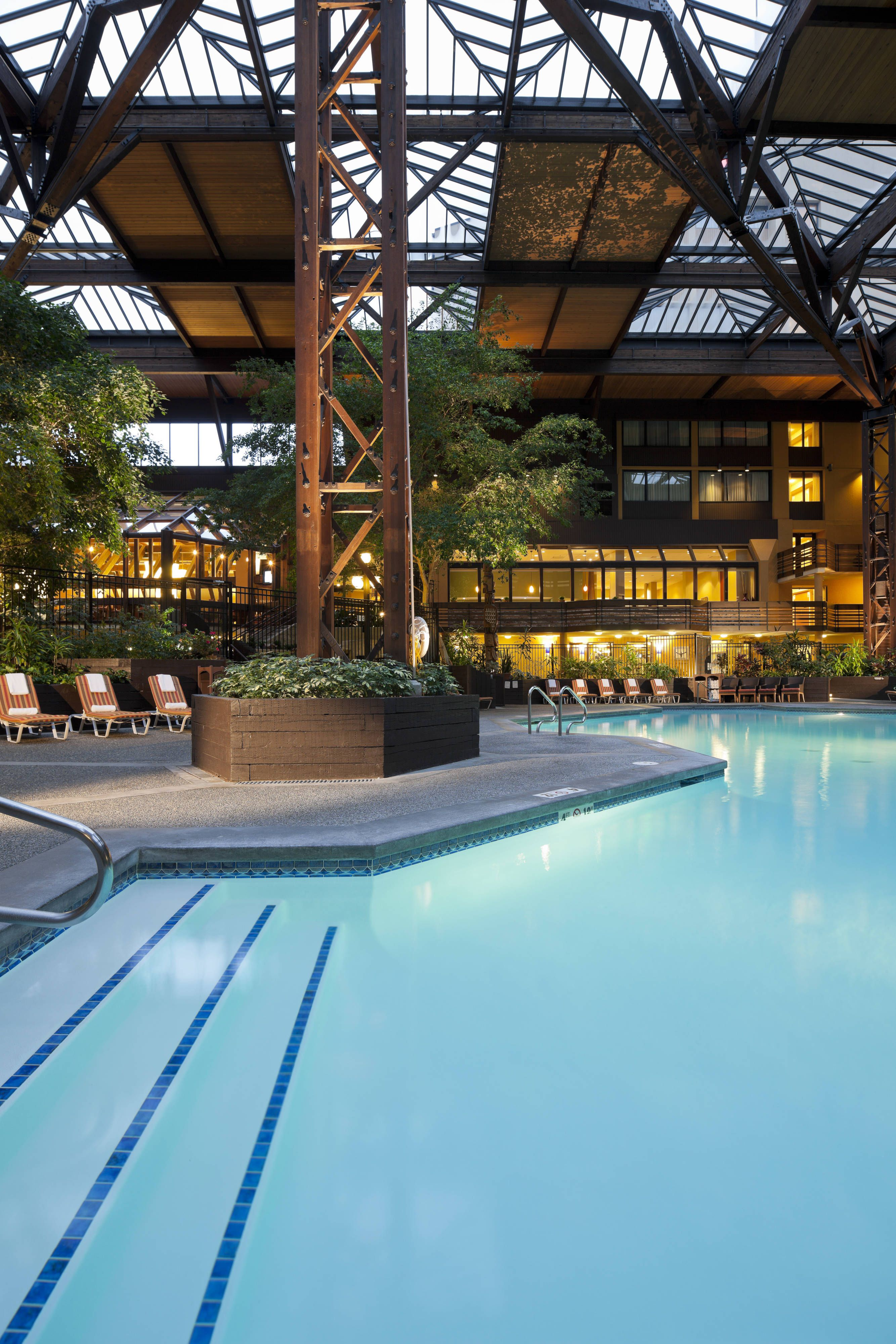 Seattle Airport Marriott Indoor Pool Travel Beautiful Traveling