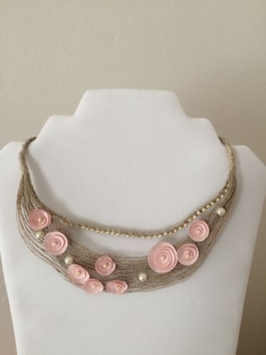 Handmade-Fiber-Art-Textile-Art-Collar-Necklace-Linen-Satin-Flowers-Beads-Latvia