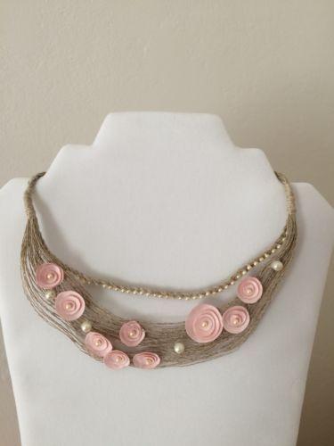 Handmade-Fiber-Art-Textile-Art-Collar-Necklace-Linen-Satin-Flowers-Beads-Latvia