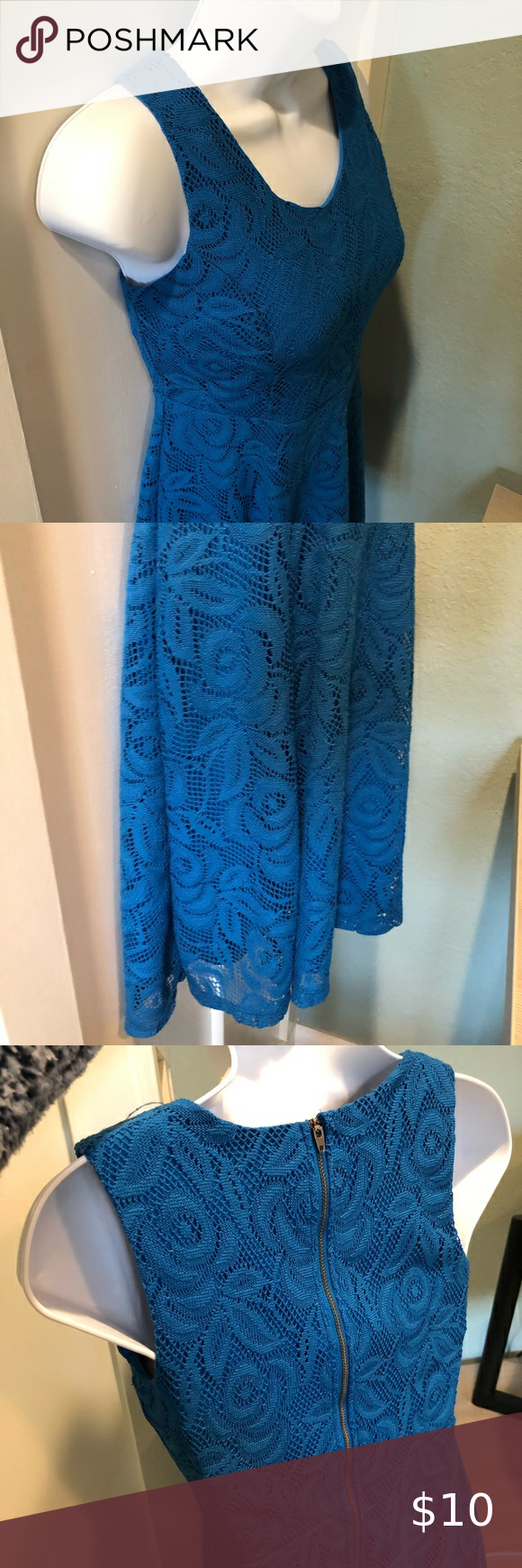 Blue Lace Dress Size Lg 10 12 Blue Lace Dress From Cherokee Target This Dress Has Wide Tank Top Straps So It Passes Sch Lace Blue Dress Lace Dress Dresses [ 1740 x 580 Pixel ]