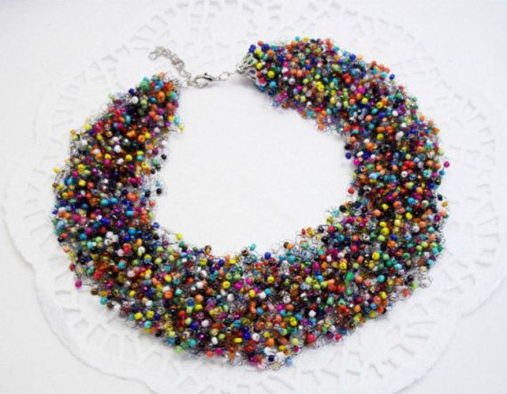 Rainbow necklace,colorful necklace,statement necklace layering necklace,cheerful necklace,multistrand necklace,seed beaded necklace