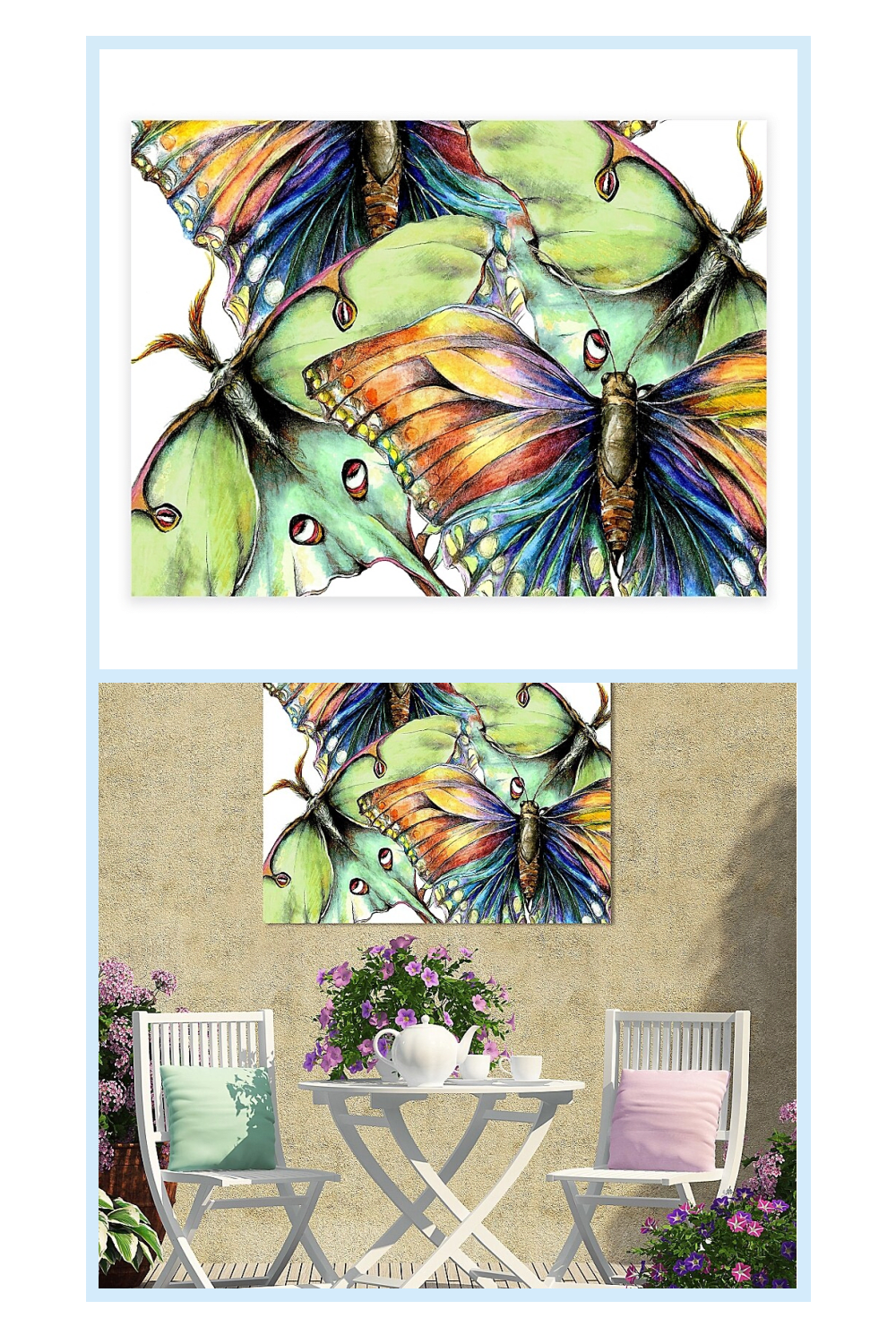 Pastel Butterflies All Weather Outdoor Canvas Wall Art Multi Pastel Butterflies Outdoor Canvas Canvas Wall Art