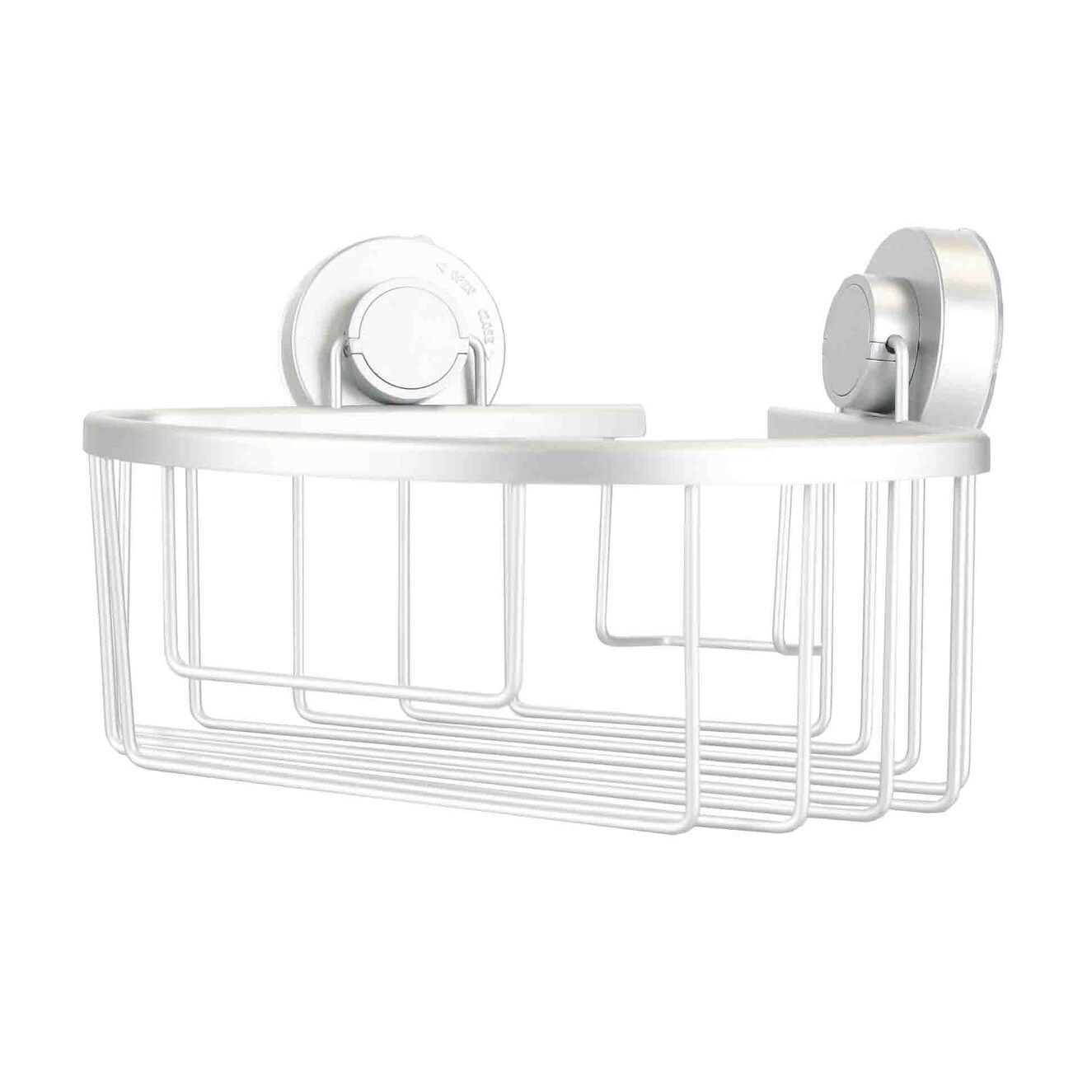 Aluminum Corner Bath Caddy With Power Grip Suction Cups Silver