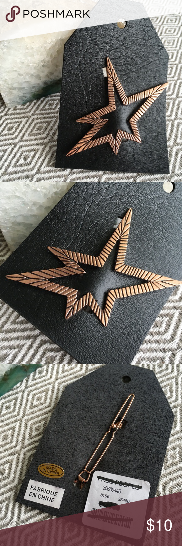 """Free People starburst hair clip Copper tone metal hair clip in unique starbust shape from Free People. Brand new, never used. Tag crossed through to prevent store returns. Two available. Price is for one. Measures just over 3"""" at longest part. Bundle for a better deal!         Reasonable offers welcome.🎀 No lowballing, please.❌ No trades or non-posh transactions!🚫 Bundle & save!💰 Free People Accessories Hair Accessories"""