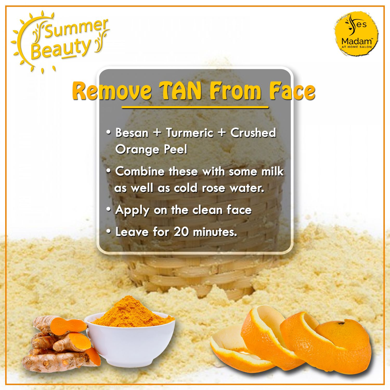 Home Remedies to Remove #TAN from Face- • #Besan + #Turmeric +