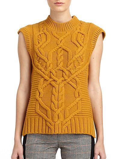 Derek Lam Cable Knit Wool Sleeveless Sweater Saks Knitting