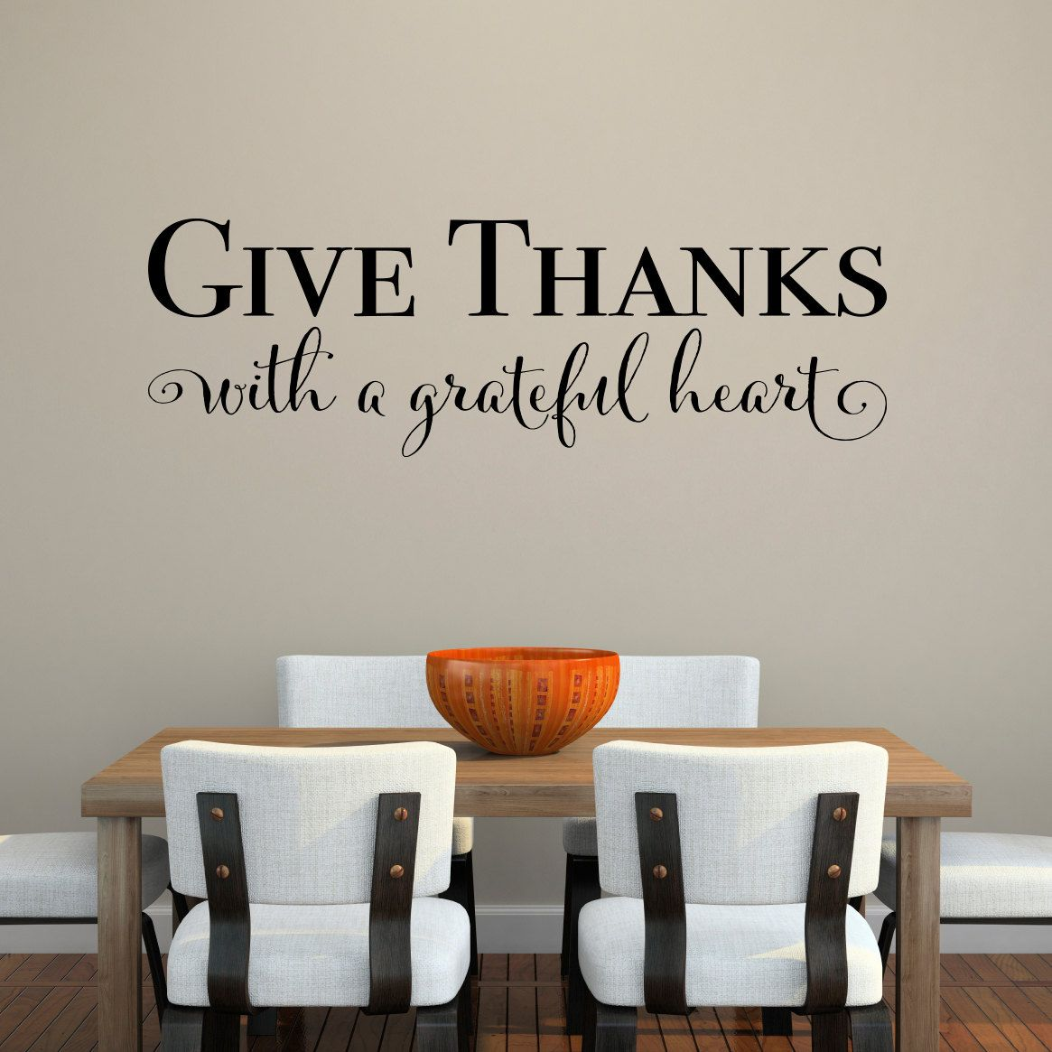 give thanks with a grateful heart decal give thanks quote dining room decor kitchen wall on kitchen decor quotes wall decals id=85491