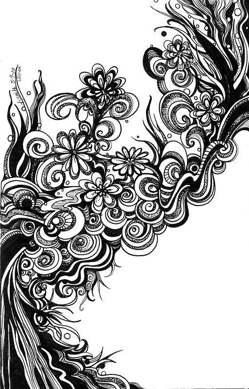 Flowers Abstract Doodle Pen And Ink Black And White By