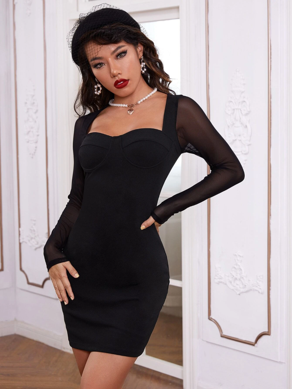 Sweetheart Neck Mesh Sleeve Dress Shein Usa Mesh Sleeved Dress Dresses With Sleeves Mesh Sleeves [ 1332 x 1000 Pixel ]
