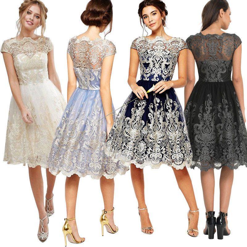 Womens Bridesmaid Lace Prom Short Dress Ball Gowns Formal Evening Party Cocktail