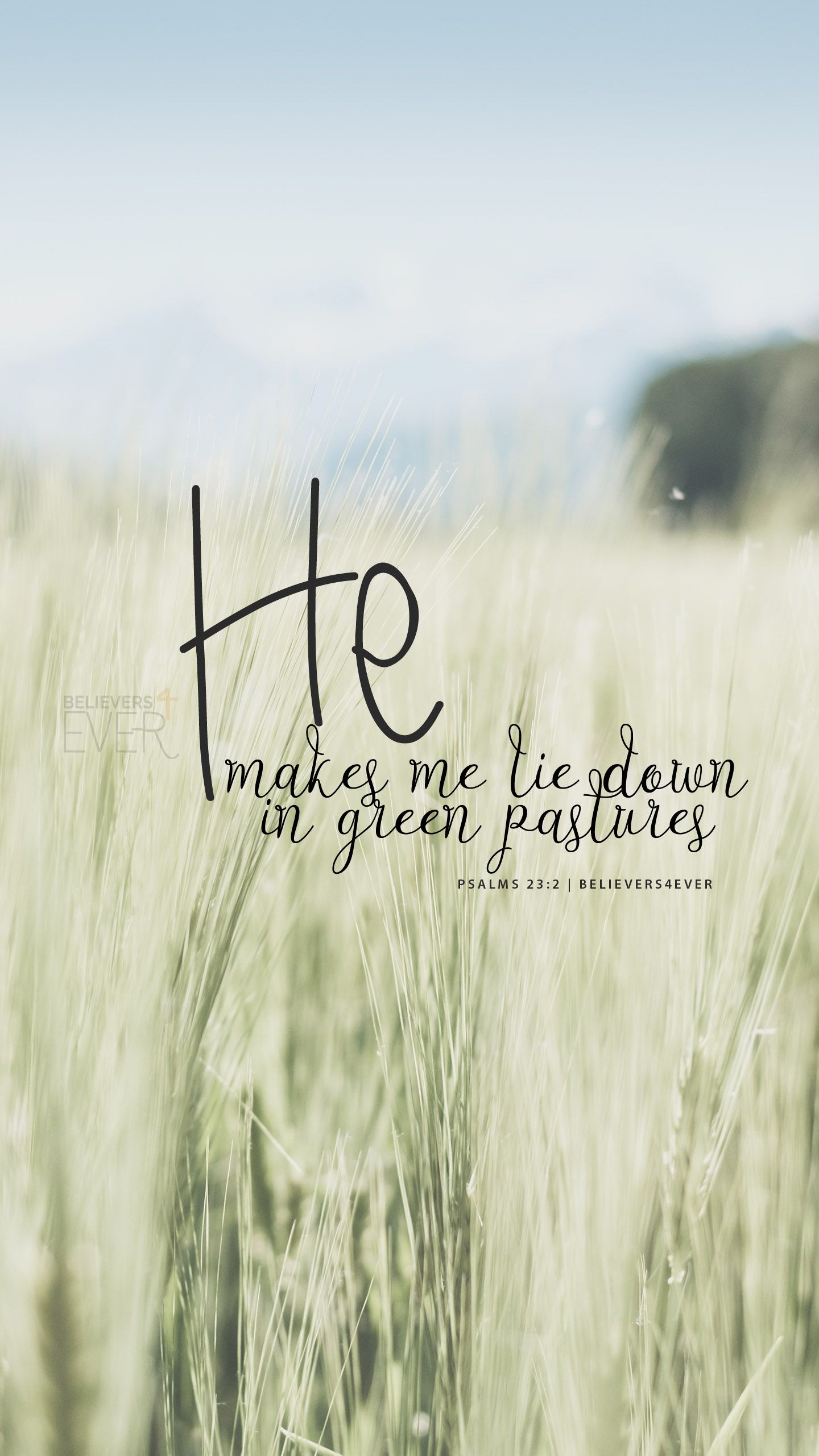He makes me lie down in green pastures. Psalms 232. Free