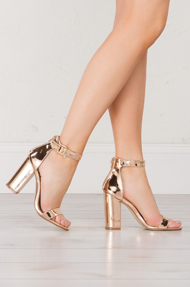 Chunky Heeled Sandal in Rose Gold and Bronze is part of Sandals heels - Satisfy your sandal craving with totally trendworthy Breaking Dawn Sandal  Eyecatching metallic colors this chunky heeled sandal with a back zip, buckle ankle strap and thin, toe strap  Bring dynamism to any deniminspired ensemble with this standout sh