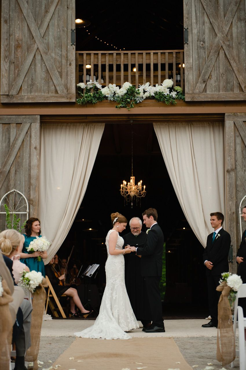 Barn Le Doorway Hung With D And Chandelier Used As Wedding Altar Lake Martin At The Les By Spindle Photography