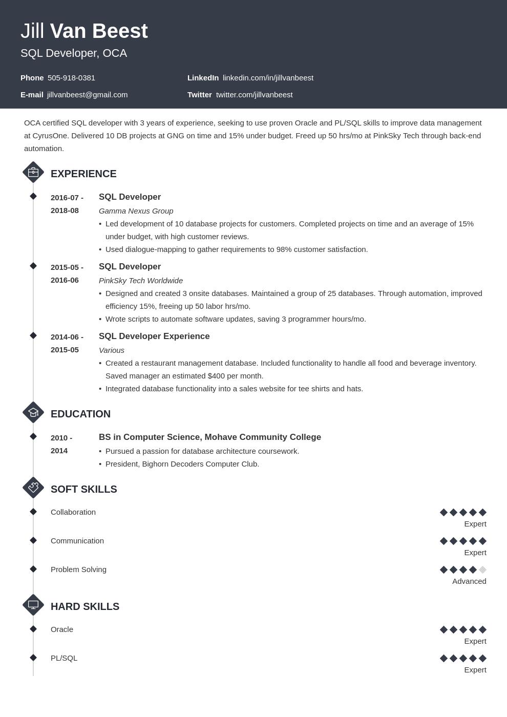 sql developer resume example template diamond in 2020