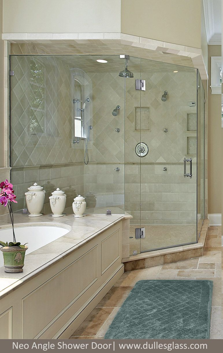 This beautiful Neo Angle shower has two angled panels and a flat ...
