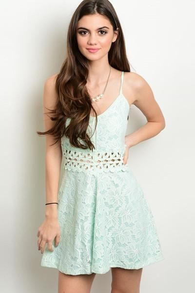 f471c7172f3 Misty Mint Lace Fit and Flare Dress - FINAL SALE