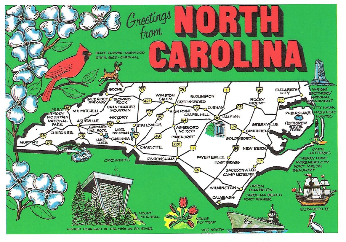 North Carolina Postcards – North Carolina Travel Map