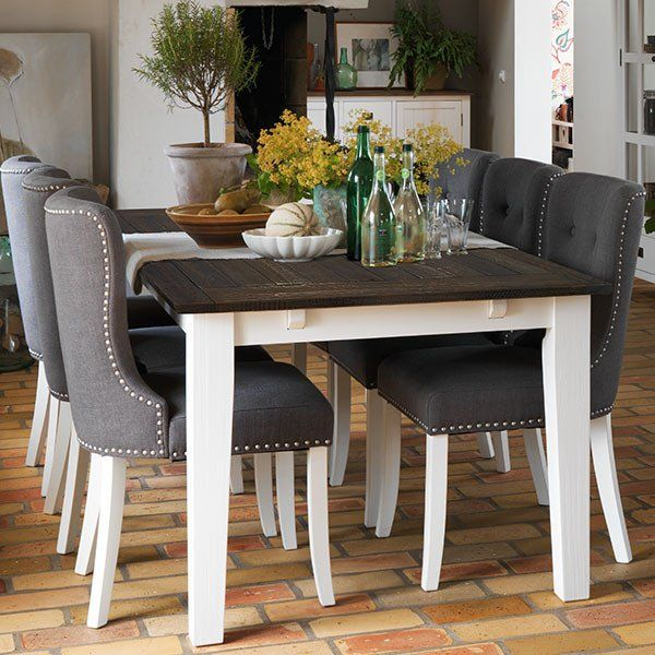 Nottingham Extending Dining Table And Grey Upholstered Adele Chairs