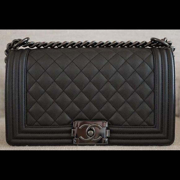 687e79993309 Chanel So Black Caviar Medium Boy Chanel So Black Caviar Le Boy Medium Flap  Bag with Shiny Black Shiny Chain Year: 2017 Limited Edition This is the  newest ...