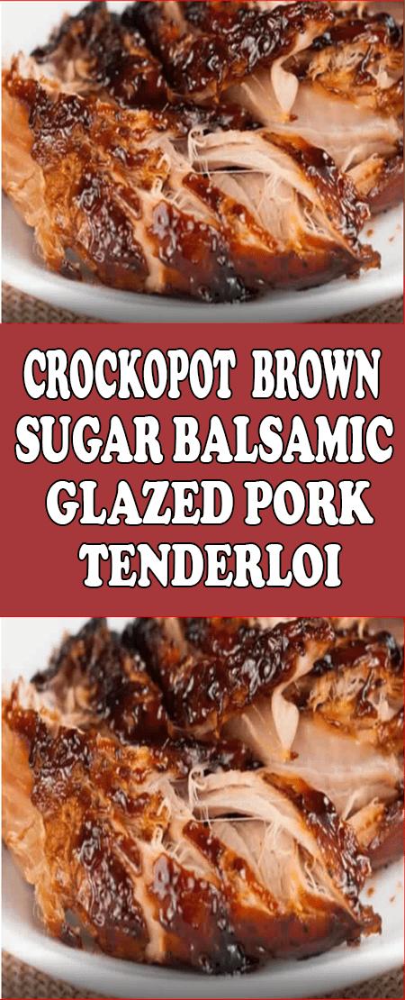 Crockpot Brown Sugar Balsamic Glazed Pork Tenderloin! #brownsugar