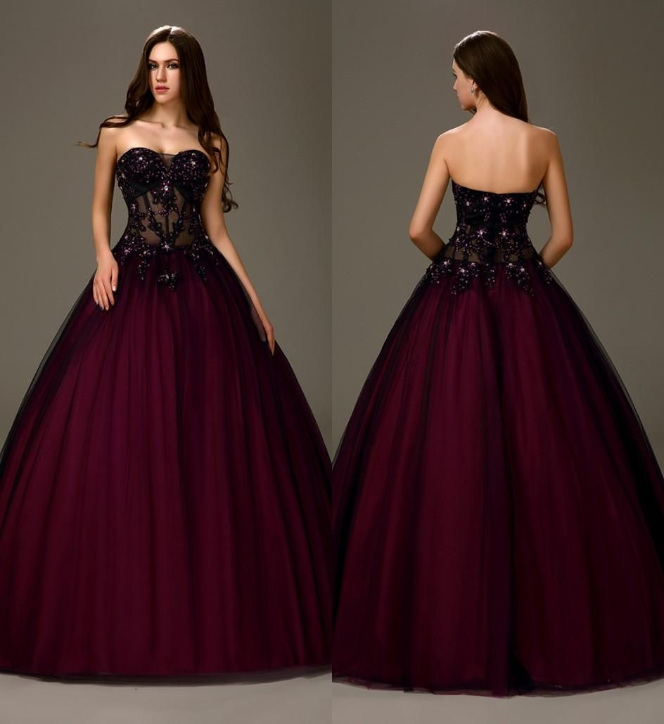 Ball Dresses Sexy Black Purple Two Tones Long Ball Gown A Line