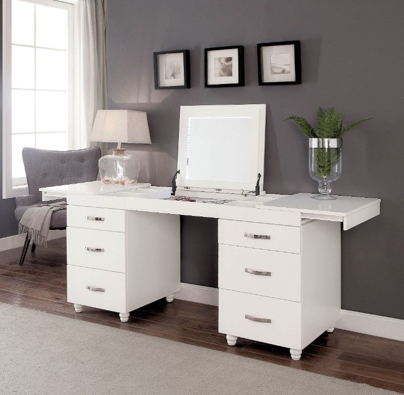 Cm Dk6103 Verviers White Finish Wood Modern Style Make Up Vanity Desk Vanity Desk Bedroom Vanity Furniture Of America
