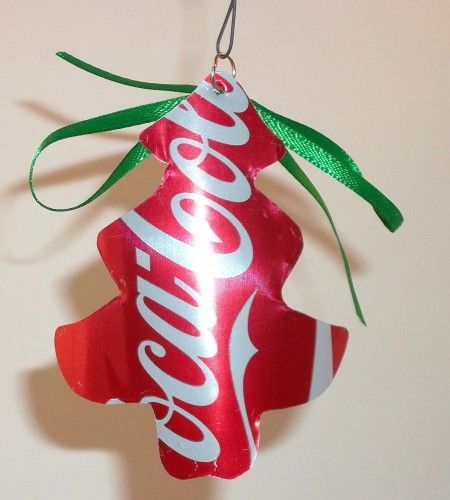 Recycled christmas ornaments coca cola tree
