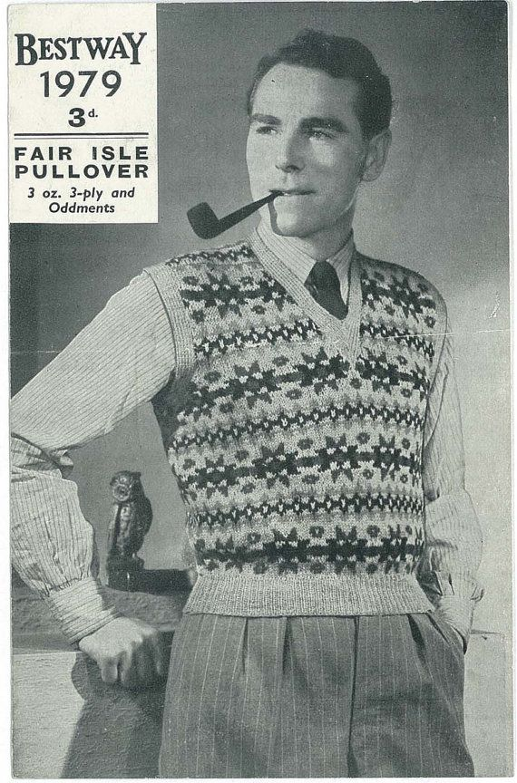 1930's men's fair isle pullover. some kind of ugly hipster sweater ...