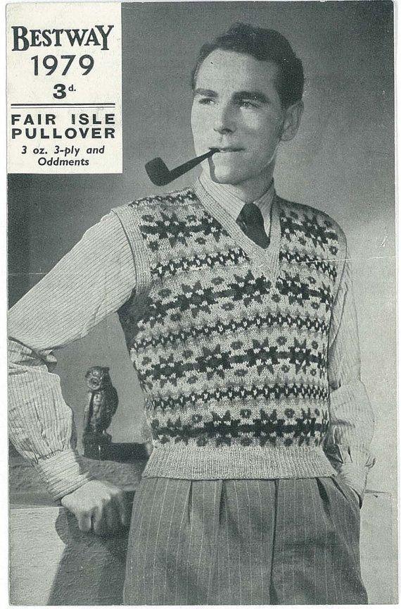 1930\'s men\'s fair isle pullover. | mens fashion 1930\'s | Pinterest ...