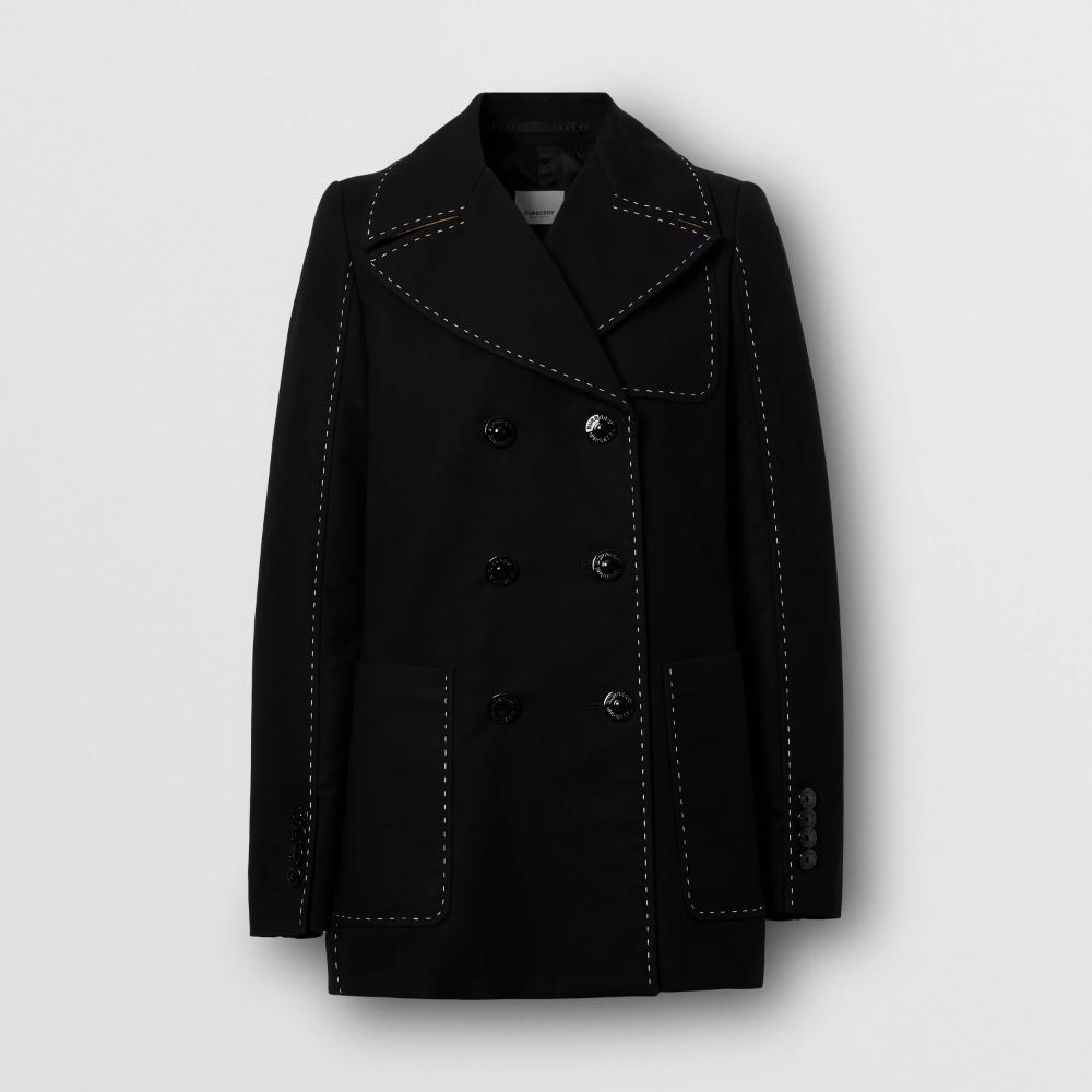 Topstitched Cotton Pea Coat In Black, Black Cotton Pea Coat